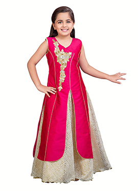 Rani Pink Kids Jacket Style Gown
