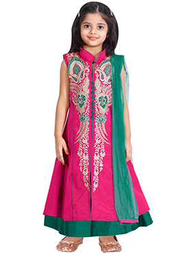 Rani Pink kids Long Choli Lehenga