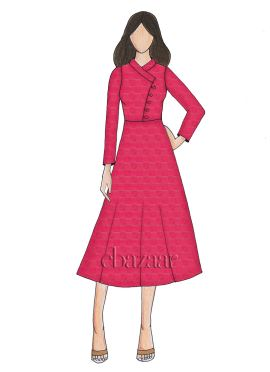 Rani Pink Mogra Silk Full Sleeve Kurti