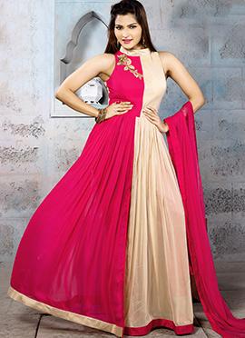 Rani Pink N Cream Georgette Anarkali Suit