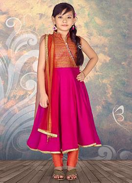 Rani Pink N Orange Satin Kids Anarkali Suit