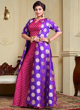 Rani Pink N Violet Art Silk Jacket Style Palazzo Set