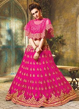 Rani Pink Net A Line Lehenga