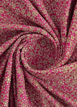 Rani Pink Sequins Embroidered Georgette Fabric