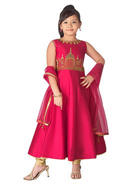 Rani Pink Taffeta Kids Anarkali Suit