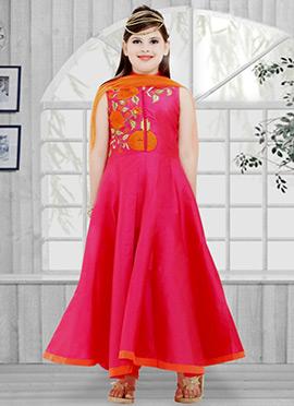 Rani Pink Taffeta Silk Kids Anarkali Suit