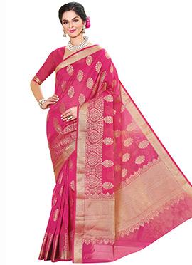 Rani Pink Zari Saree