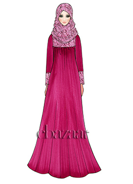 Raspberry Rose Georgette Abaya