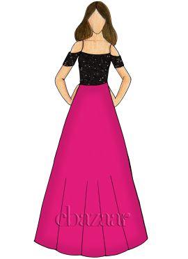 Raspberry Sorbet Georgette Cold Shoulder Gown