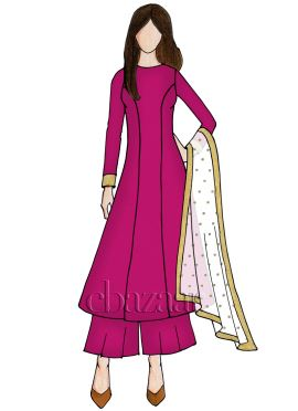 Raspberry Sorbet Georgette Palazzo Suit