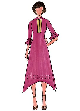 Raspberry Sorbet Georgette Plain Long Kurti