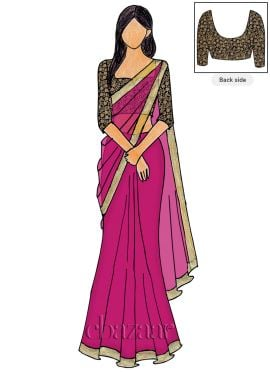 Raspberry Sorbet Georgette Saree N Embroidered Blouse