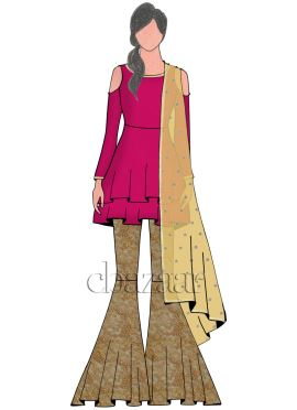 Raspberry Sorbet Georgette with Embroider Sharara Suit