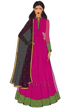 Raspberry Sorbet Net Abaya Style Anarkali