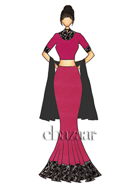 Raspberry Sorbet Tafetta Fish Cut Lehenga with a Black Georgette Dupatta