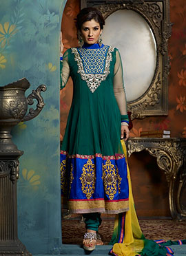 Raveena Tandon Green N Blue Net Anarkali Suit