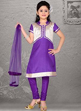 Ravishing Violet Art Silk Teens Churidar Suit