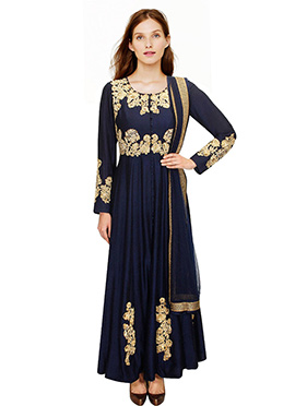 Raw Silk Ankle Length Anarkali Suit