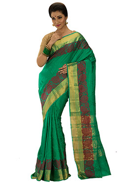 Raw Silk Green Foliage Designed Saree