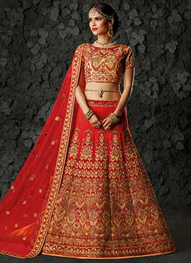 Red A Line Bridal Lehenga