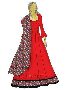 Red Abaya Style Anarkali Suit