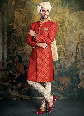 Red Achkan Sherwani