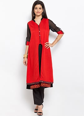 Red and Black Cotton Layered Kurti