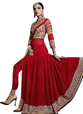 Red Ankle Length Anarkali Suit