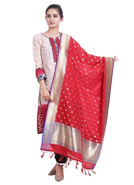 Red Art Benarasi Silk Dupatta