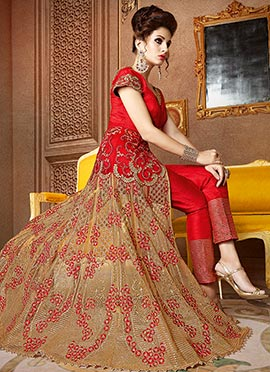 Red Art Benarasi Silk Net Straight Pant Suit