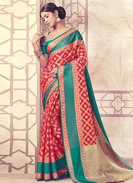 Red Art Benarasi Silk Saree