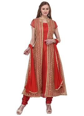 Red Art Bhagalpuri Silk Anarkali Suit