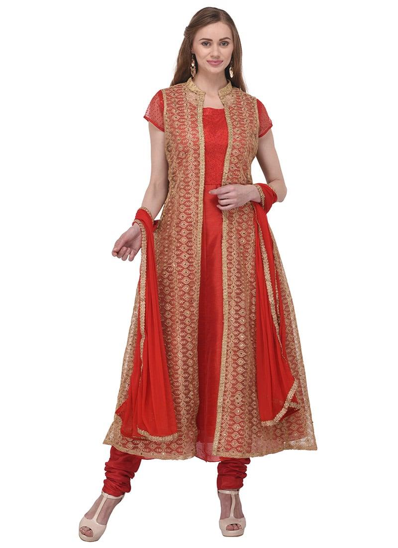 fd3147284b Buy Red Art Bhagalpuri Silk Anarkali Suit, Embroidered , Bhagalpuri ...