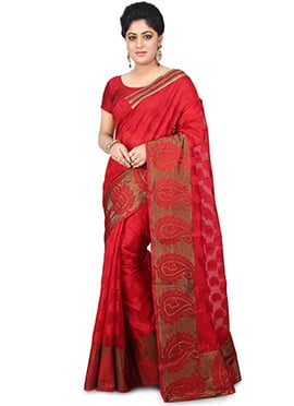 Red Art Chanderi Cotton Saree
