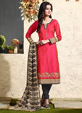 Red Art Chanderi Silk Cotton Churidar Suit