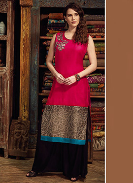 Red Art Chanderi Silk Kurti
