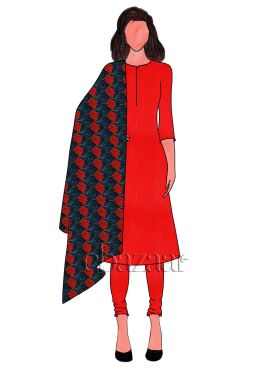 Red Art Dupion Silk Churidar Suit