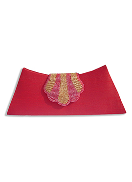 Red Art Dupion Silk Clutch