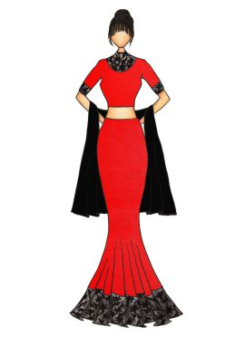 Red Art Dupion Silk Fish Cut Lehenga with a Black Georgette Dupatta