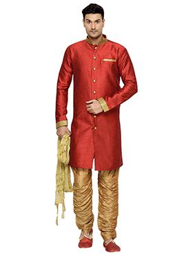 Red Art Dupion Silk Indowestern Kurta Pyjama