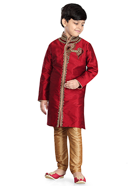 Red Art Dupion Silk Kids Kurta Pyjama