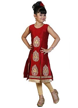 Red Art Dupion Silk Kids Salwar Kameez