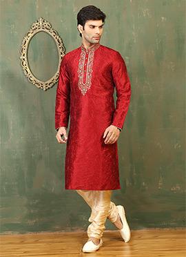 Red Art Dupion Silk Kurta Pyjama