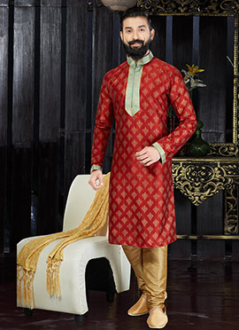 Red Art Dupion Silk kurta Pyjama