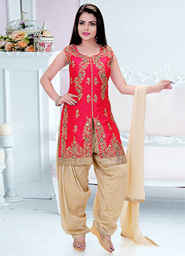 Red Art Dupion Silk Salwar Suit
