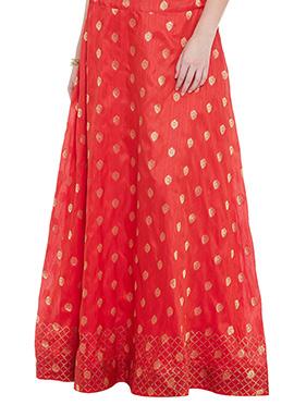 Red Art Dupion Silk Skirt
