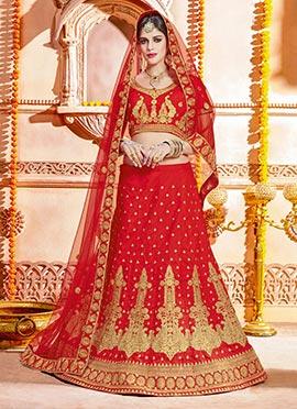 Red Art Raw Silk A Line Lehenga
