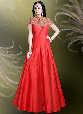 Red Art Raw Silk Cape Anarkali Gown