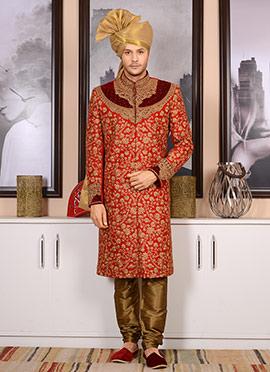 Red Art Sik Chipkan Sherwani