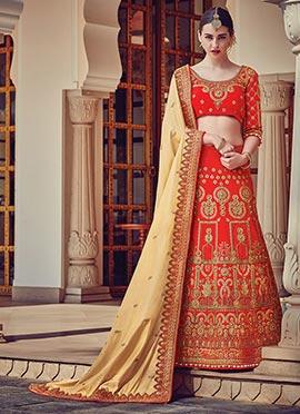 Red Art Silk A Line Lehenga